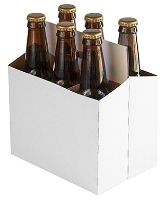 6 Pack Cardboard Beer Bottle Carrier For 12 Ounce Bottles White (24 Count) by Porpoise Brewing