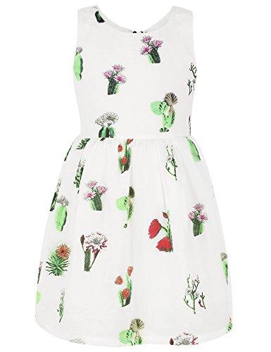 Ephex Kid Girl Cotton Cactus Print Shift White Dress 7Y (Print Occasion Dress Shift)