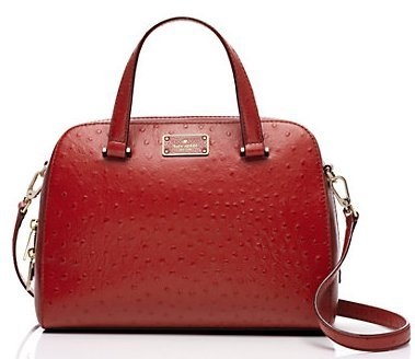 Kate Spade Kay Street Ostrich Embossed Small Felix Satchel, Dynasty Red