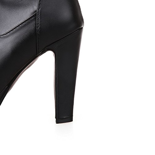 Black Top Heels Material Women's Pull Boots Closed On Toe Soft High Round High AgooLar wPOHzxqc1O