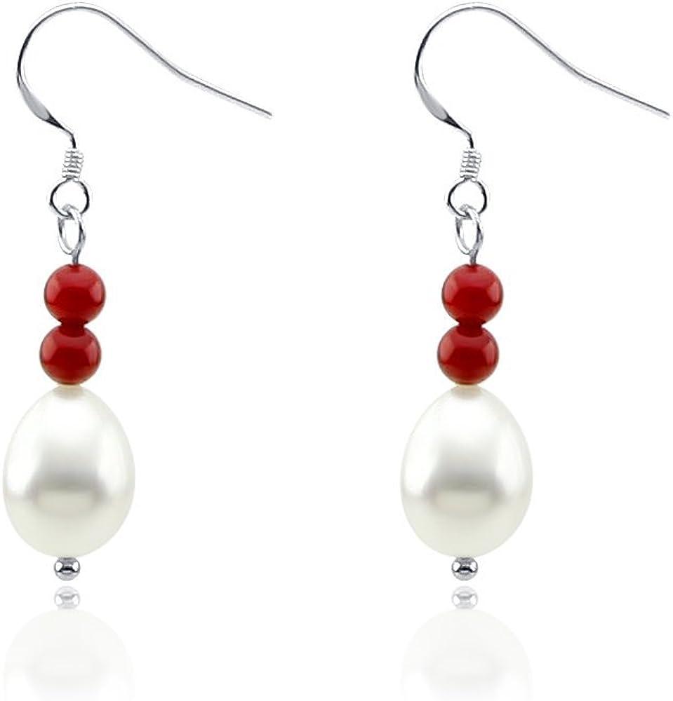 Pendientes de perlas cultivadas de agua dulce de coral rojo y 10-11 mm con gancho de plata de ley