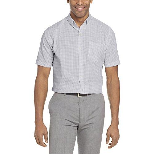 Van Heusen Men's Wrinkle Free Short Sleeve Button Down Twill Shirt, Bright White Minicheck, (Wrinkle Free Mens Shorts)