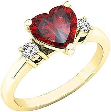 Dazzlingrock Collection 14K 7 MM Heart Gemstone & Round White...