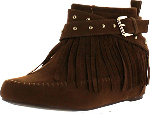 Bella Marie Campus-25 Women's Shiny Studded Criss Cross Side Zip Fringe Booties,Tan,8.5