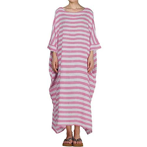 HYIRI Boho Women's Dresses Casual Striped 3/4 Sleeve O-Neck Casual Loose Kaftan Long Maxi Dress Pink -