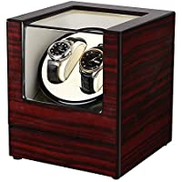 Slsy Automatic Double Watch Winders Box with AC or Battery Powered, Dual Wooden Winder Rotator Storage Case with Quiet Japanese Motors 2+0 for Men