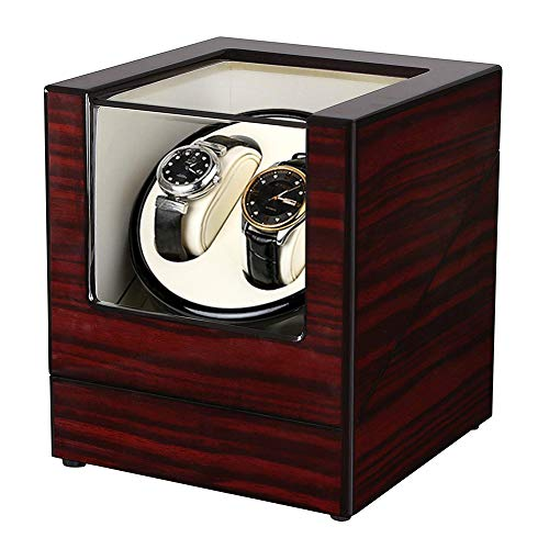 Two Slot Watch Winder - Slsy Automatic Double Watch Winders Box with AC or Battery Powered, Dual Wooden Winder Rotator Storage Case with Quiet Japanese Motors for Men
