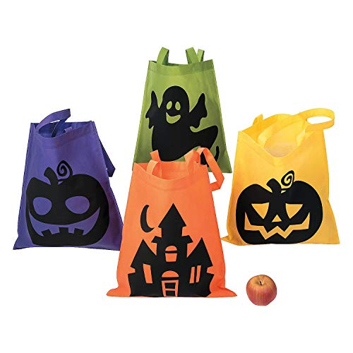 Fun Express Halloween Tote Bags - 12 Per Order - Large 16 Inch -Ionic Trick or Treat Tote -
