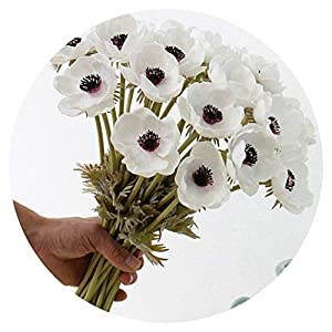 Real Touch Artificial Anemone Flowers Silk Flores Artificiales for Wedding Holding Fake Flowers Home Garden Decorative Wreath 35