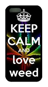 Keep Calm and Love Weed Iphone 5 5S Rubber Shell with Black Edges Cover Case by Lilyshouse