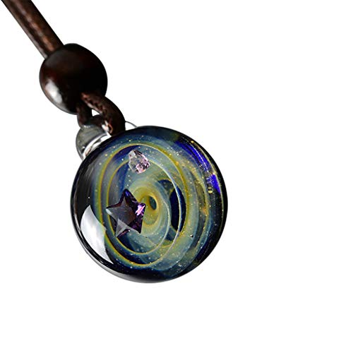 Orcbee  _Universe Coloured Glaze Heart Shaped Starry Sky Glass Ball Necklace Gift for Birthday (C)