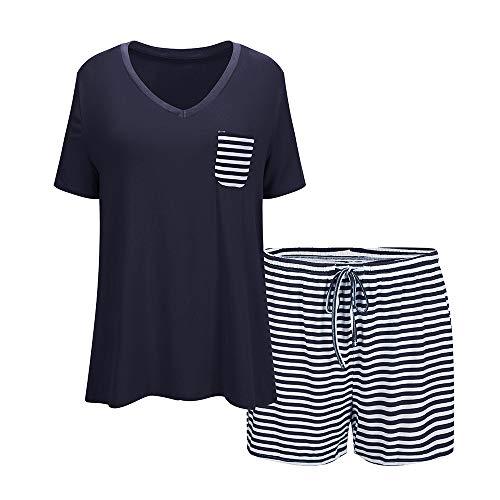 Summer Pajamas for Women, Cotton Sleepwear/Short Sets/Pajamas Set Navy Blue 1 Large