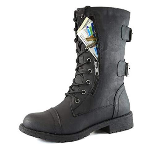 DETAWIN Women Riding Boots Waterproof Cross Tied Zip Pocket Punk PU Block Low Heels Ladies Mid Calf Booties