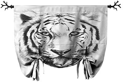 Mozenou Customized Roman Curtains-Animal,Tiger Portrait Africa Fauna,Suitable for Any Room Scene,W45 xL64 One Panel