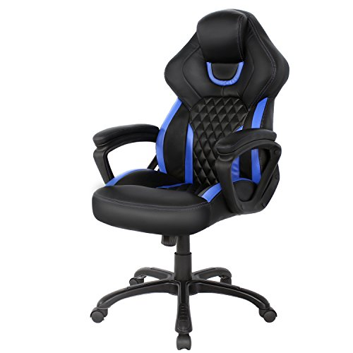 HOMEFUN Computer Gaming Chair, Ergonomic Office Chair with Bucket Seat, Executive High-back Home PC Racing Desk Chair & Swivel Task Chair (Blue/Black) Review