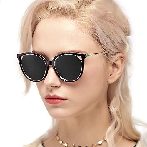Myiaur Retro Cat Eye Sunglasses Women, Polarized Mirror Glasses, Stylish Style Design, for UV Protection/Driving/Outdoor (Black Cateye Frame Grey Polarized Glasses) ()