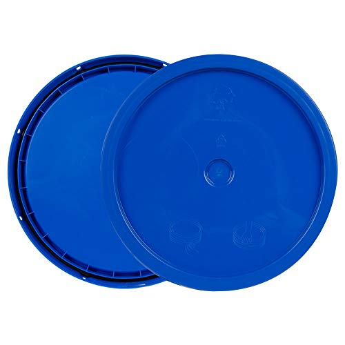 (Blue 3.5 to 5.25 Gallon High Density Plastic Lid with Tear Tab)