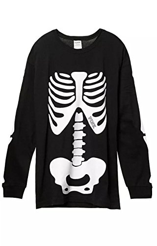 Victoria's Secret PINK Campus Long-Sleeve Tee, Black, Halloween Skeleton (Medium)]()