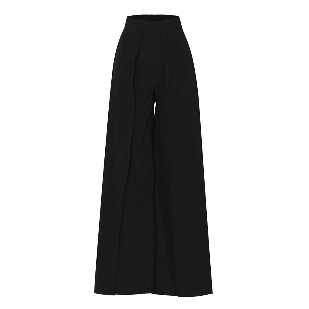 Pantaloni Donna Vita Alta Tinta Unita Moda Pantaloni a Gamba Larga Donna Pulsante Pantaloni Eleganti Slim Fit Lungo Palazzo Pantaloni Donna