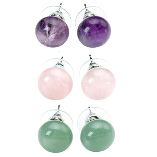 Natural Amethyst Aventurine Crystal Earrings