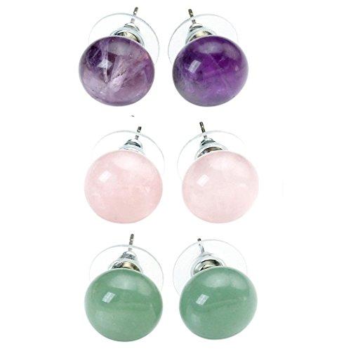 - JOVIVI 3pairs Womens Natural Amethyst/Rose Quartz/Green Aventurine Round Abacus Ball Crystal Beads Chakra Stud Earrings
