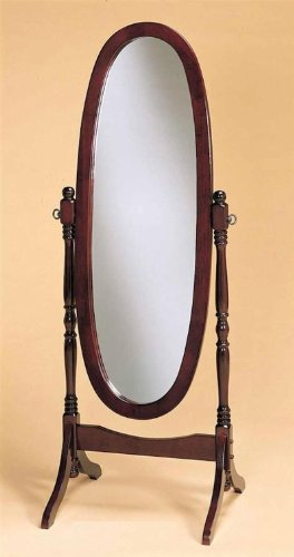 Legacy Decor Swivel Full Length Wood Cheval Floor Mirror, Cherry Finish (Cherry Oak Swing)