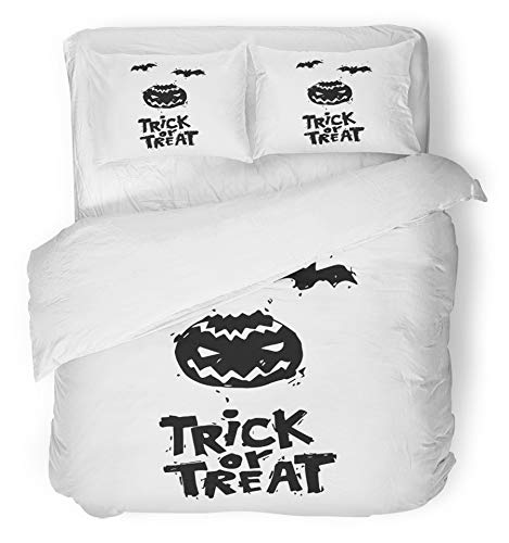 Emvency 3 Piece Duvet Cover Set Brushed Microfiber Fabric Breathable Happy Halloween Fly Er Pumpkin Black on White Lettering Party Flat Design Bedding Set with 2 Pillow Covers Full/Queen Size