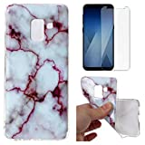 for Samsung Galaxy A8 2018 A530 Marble Case with Screen Protector,OYIME Creative Glossy Purple & White Marble Pattern Design Protective Bumper Soft Silicone Slim Thin Rubber Luxury Shockproof Cover