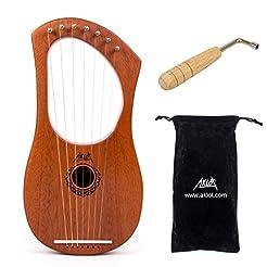 AKLOT Lyre Harp, 7 Metal String Bone Sad...