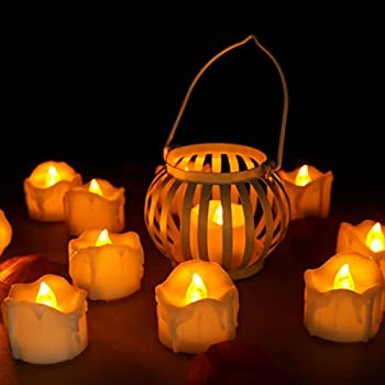 this item youngerbaby 24pcs flicker yellow amber battery operated candles unscented small flameless candles led tea lights candles for wedding christmas