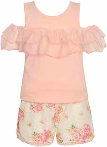 6bb17c593 Little Girls Blush Cold-Shoulder Ruffle Trim Floral 2 Pc Shorts Outfit 4-6X