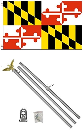 NEW 3'x5' MARYLAND State Flags Polyester w/ 6' Aluminum POLE