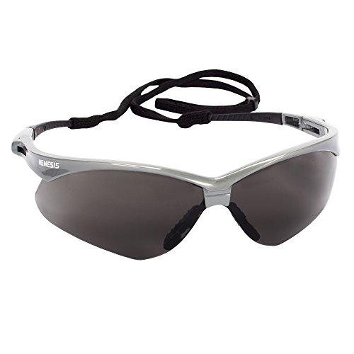 Jackson Safety V30 Nemesis Safety Glasses (47383), Smoke (Safety Sunglasses) Anti-Fog Lens with Silver Frame, 12 Pairs / Case