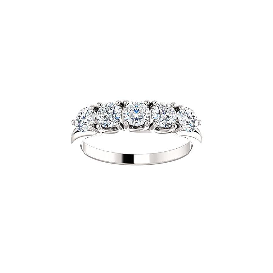 1.00 ct Ladies Round Cut Diamond Anniversary Ring in 14 kt White Gold