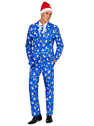 (Suitmeister Christmas Suits for Men in Different Prints - Ugly Xmas Sweater Costumes Include Jacket Pants & Tie + Free)
