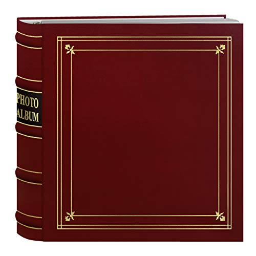 Pioneer Photo Albums 200-Pocket Ring Bound Red Bonded Leather with Gold Accents Cover Photo Album for 4 x 6-Inch Prints ()