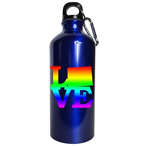 Wyoming Pride USA State Love Map - Water Bottle Metallic Blue
