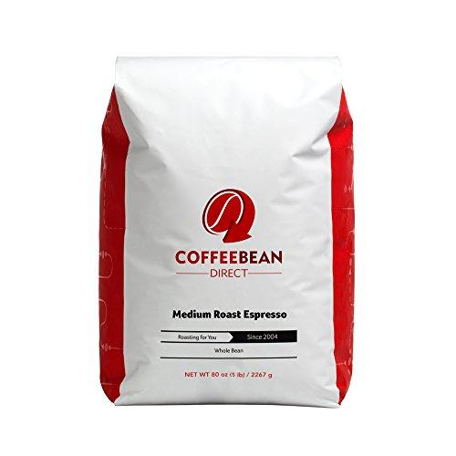 Coffee Bean Direct Medium Roast Espresso, Whole Bean Coffee, 5-Pound Bag (Roasted Espresso Coffee Beans)