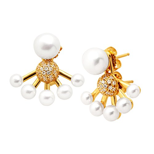 Honora Convertible Freshwater Button Cultured Pearl Jacket Drop Earrings with Swarovski Zirconia in 18K Gold-Plated Sterling Silver