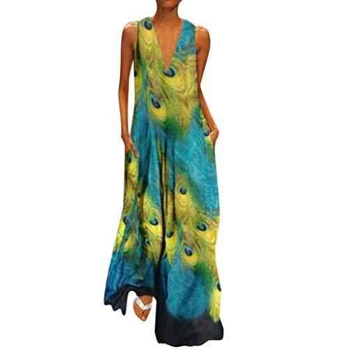 HAALIFE◕‿Women Chiffon Dress Plus Size Stylish Chiffon v-Neck Boho Maxi Prom Dress Floral Printed Sleeveless Tank Dress Green