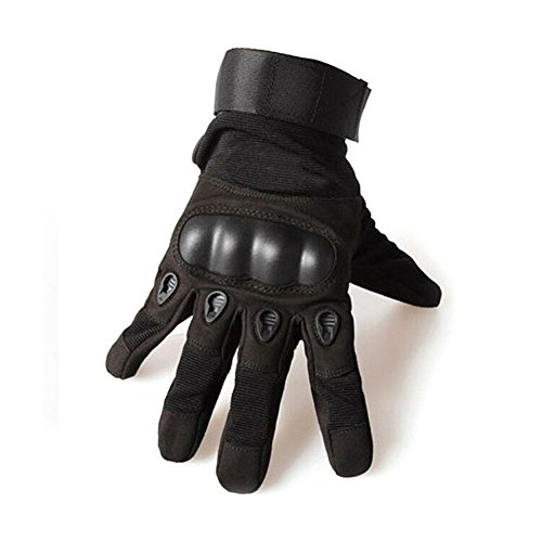 YYGIFT Mens Wear-resistant Gloves Anti-slip Full Finger Gloves Breathable Durable Gloves for Outdoor Sports Fitness Riding Shooting Cycling-M Black