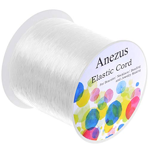 Bead Jewelry Stretch Bracelet - Elastic String for Bracelets, Anezus 0.7mm Elastic Bracelet String Beading String Jewelry String Stretch Cord for Bracelets, Jewelry Making, Beads