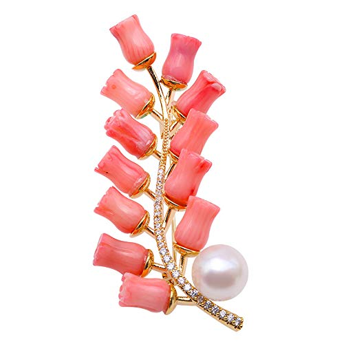 JYX Pearl Coral Brooch 10mm White Freshwater Pearl and Coral Brooch Pin Christmas Flower Brooches Jewelry for Women Bride