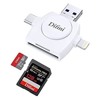 Micro SD &TF Card Reader , Difini Memory Card Camera Reader Adapter for iPhone/iPad/Android/Mac/PC/New MacBook. With Lightning,Micro USB,USB Type C,USB 3.0 Connector(4 in1)
