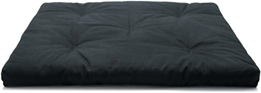 Black Zabuton Meditation Cushion with non-Removable Cotton Twill Covering