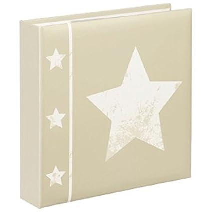 Hama Fotoalbum Skies (Jumbo Album mit 60 Seiten, Für 240 Fotos im Format 10 x 15, Stern Motiv, 30 x 30, XL Fotobuch) beige 00002336