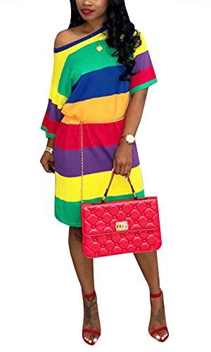 Shorts T-shirt Rainbow (Women One Shoulder Batwing Half Sleeve Casual Loose T-Shirt Midi Dress Rainbow Stripe Red M)