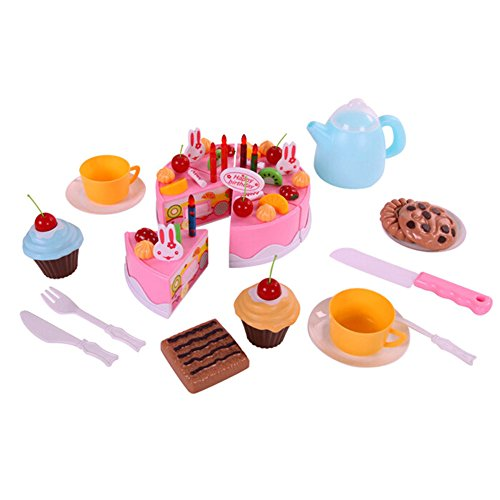 Rely2016 54Pcs Kids Plastic Birthday Cake Food Toy Kitchen Cutting Party Toy Set - Pink