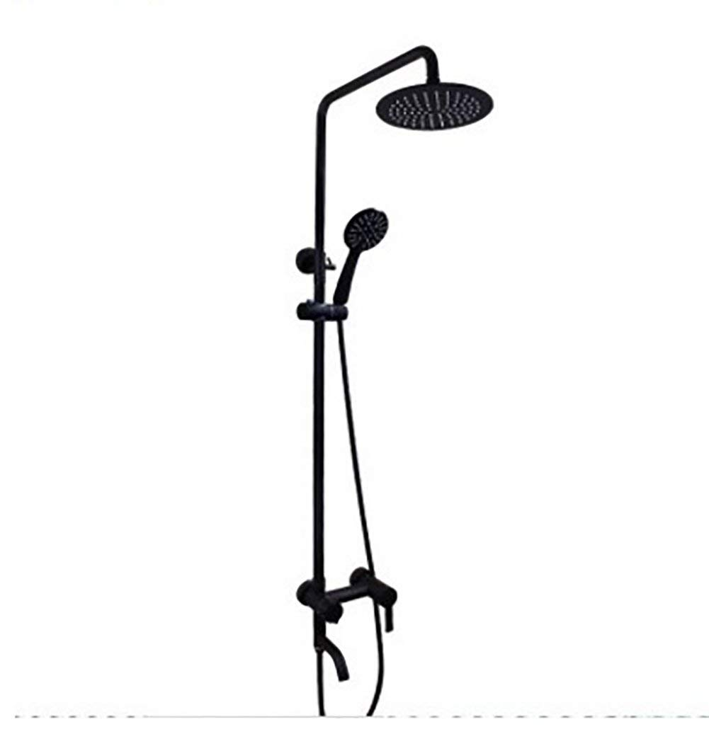 HAIHANGYUANDA Bath Retro Fashion Black Brass Fittings, 8 Inches Wall-Mounted Top Spray Round Waterfall Shower Sets, Hand Shower Adjust Up and Down Single Handle Hot and Cold Water 3-Hole Installation