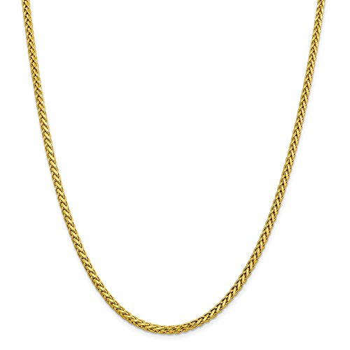 (14k Yellow Gold 3.1mm Spiga (Wheat) Chain 22 inch Necklace 10.53g)